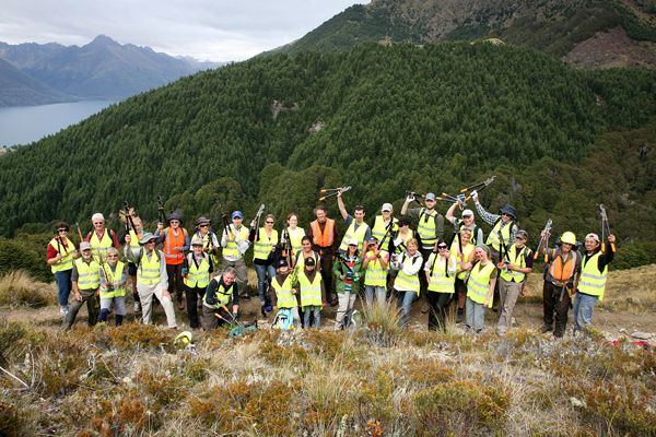 Volunteers get ready for a day of wilding control at Ben Lomond, Queenstown in 2011. Photo: ODT