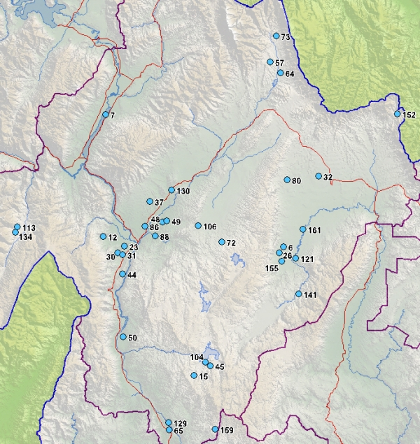 Map of Central Otago District wetlands