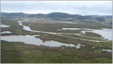 Waipori/Waihola Wetland Complex, looking east at Waihola outlet channels (February 2009)