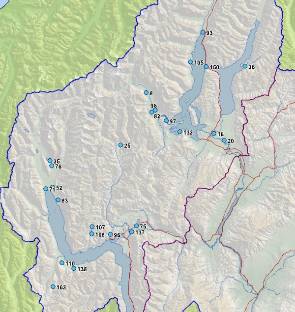 Queenstown Lakes District wetlands map
