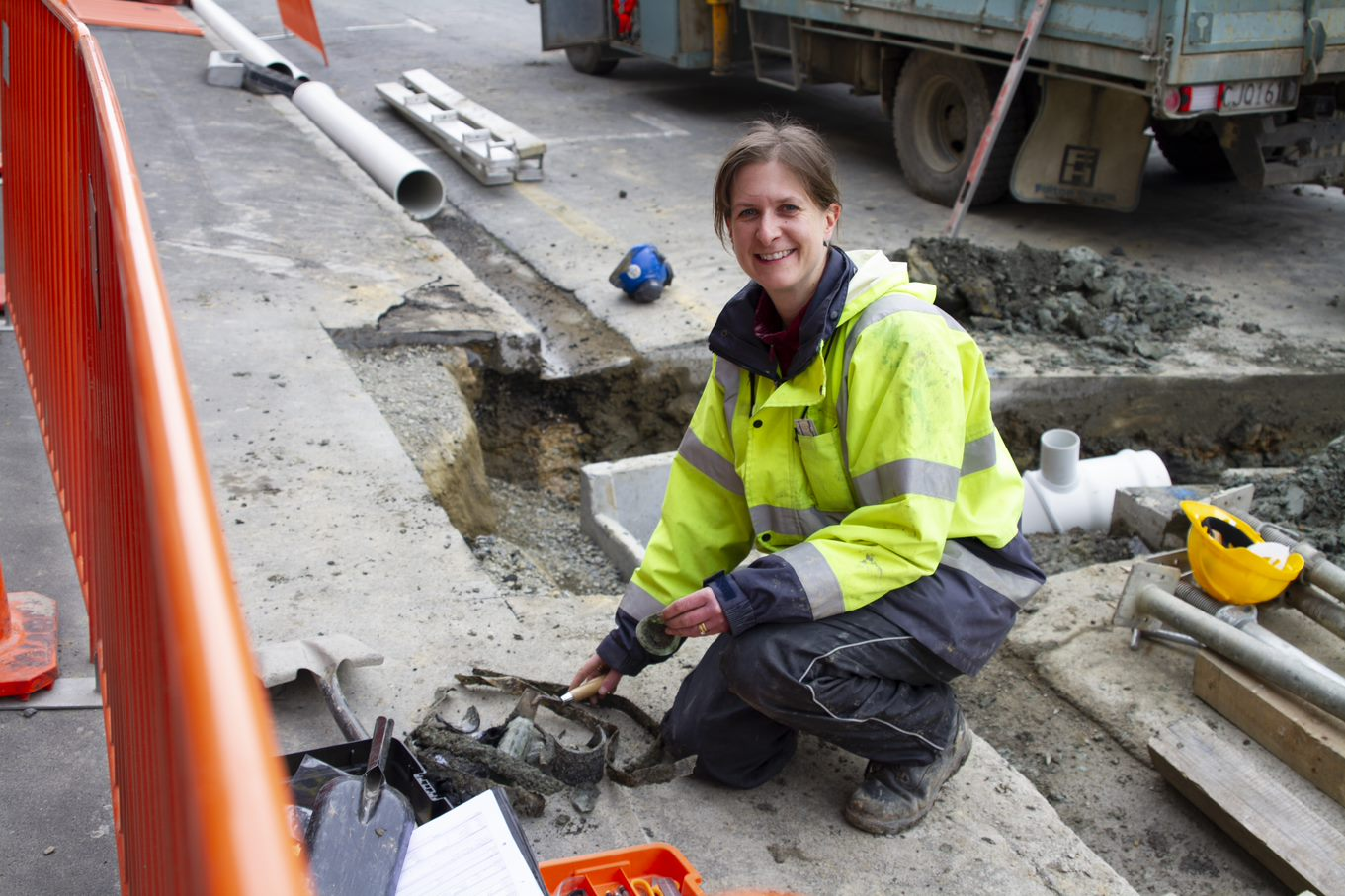Eva Forster-Garbutt, Principal Archaeologist from Heritage Properties, inspecting some items found during construction this week.