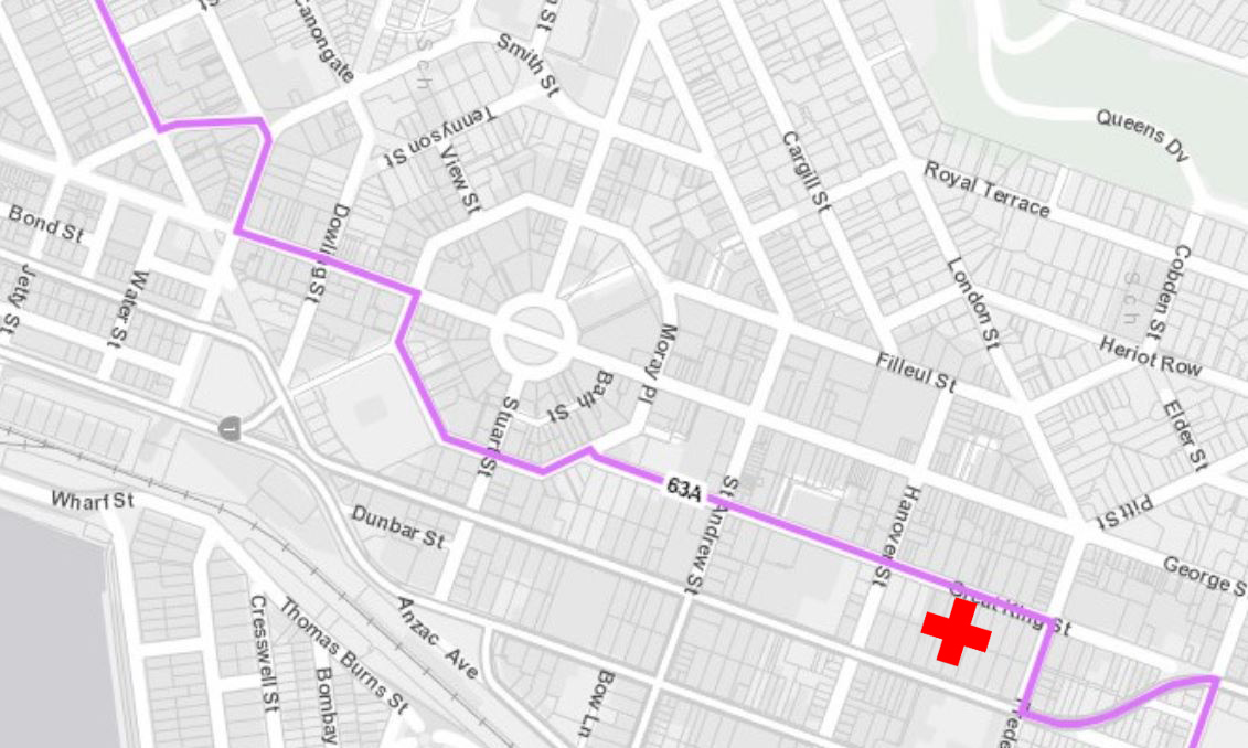 The route that the Balaclava-Logan Park bus will take once the bus hub is in service.