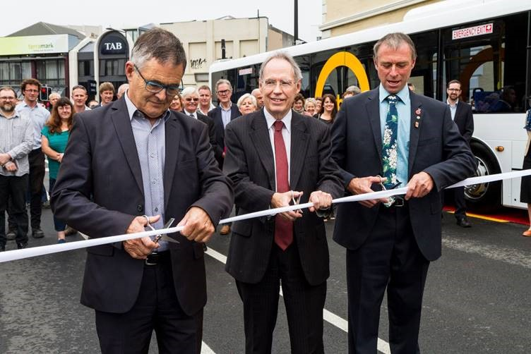 Dunedin Mayor Dave Cull, Transport Agency Director Regional Relationships South Island Jim Harland, and ORC Chairman Stephen Woodhead cutting the ribbon to open the Bus Hub today.
