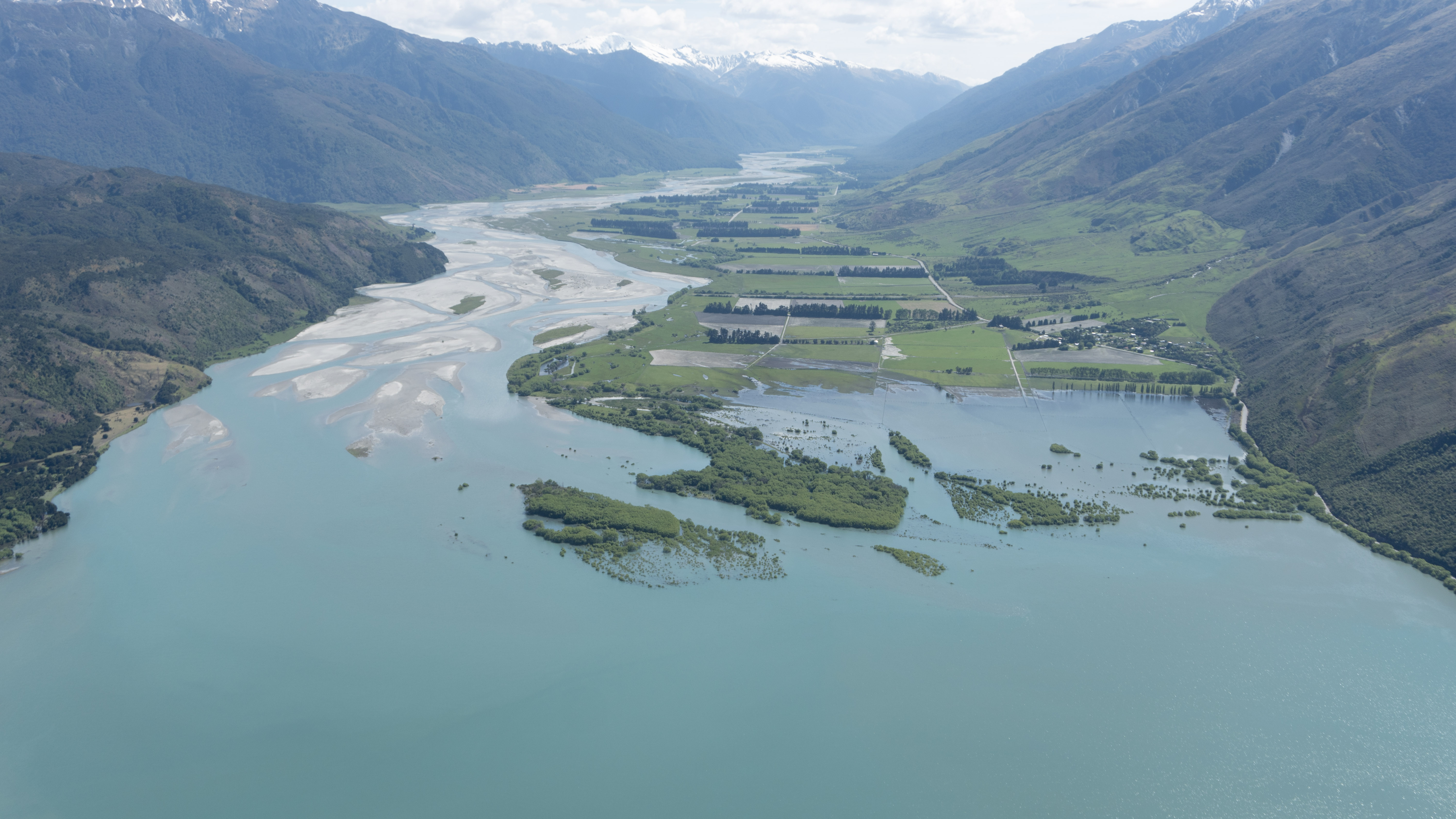 The inflow of the Makarora River to Lake Wanaka, photographed by ORC staff around midday yesterday.