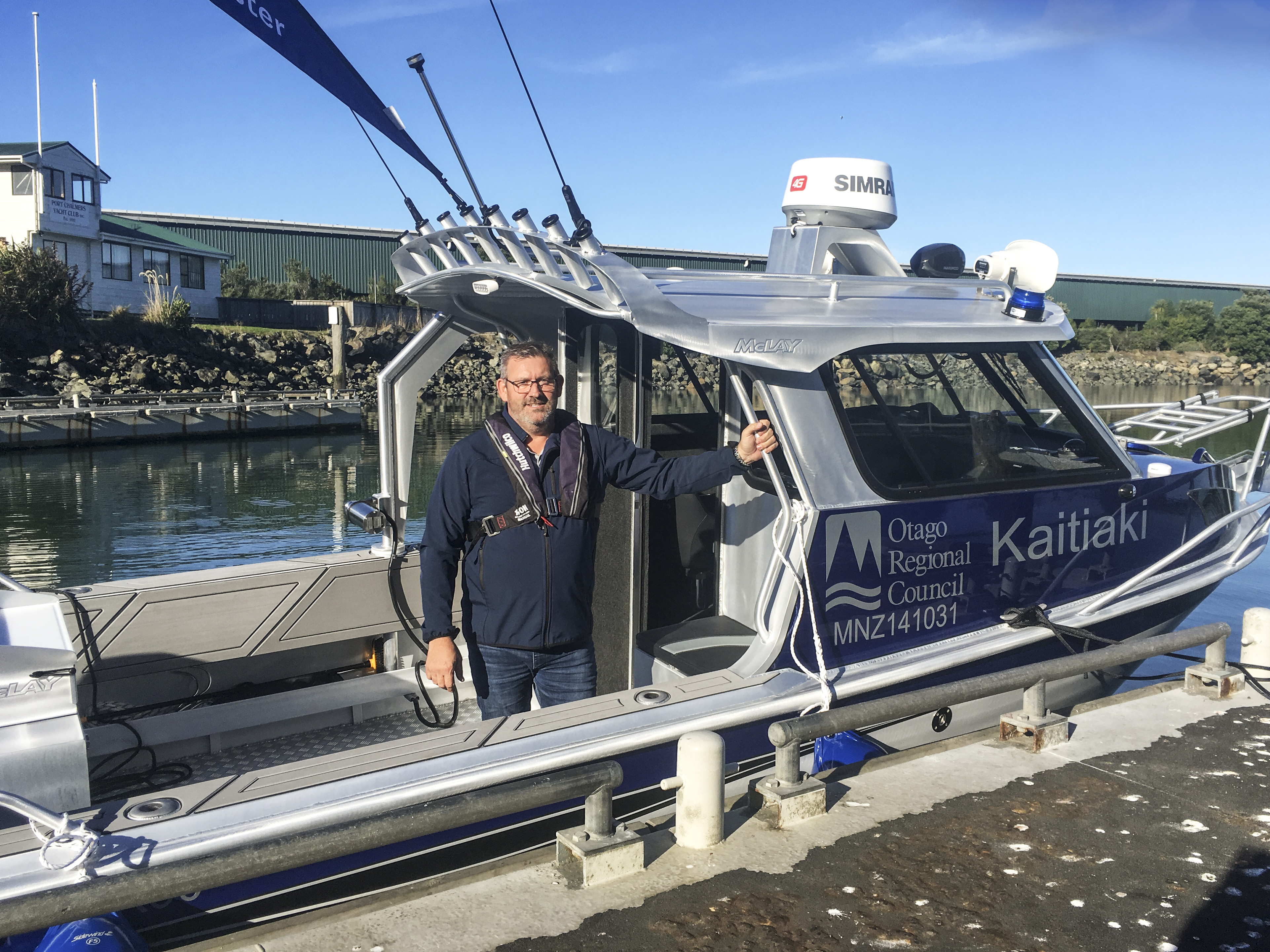 ORC Harbourmaster Steve Rushbrook on the Harbourmaster's vessel, Kaitiaki.