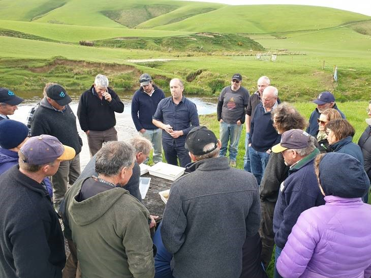 The Waitahuna/Tuapeka Catchment Group during a stream health monitoring session with NZ Landcare Trust.