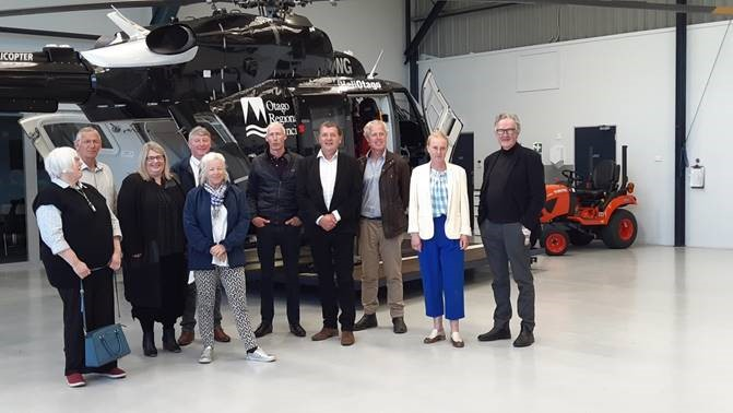 Otago Regional Councillors visited the HeliOtago hangar at the Taieri Aerodrome. From left, Cr Marian Hobbs, HeliOtago Managing Director Graeme Gale, ORC Chief Executive Sarah Gardner, Cr Andrew Noone, Cr Alexa Forbes, Cr Garry Kelliher, Otago Rescue Helicopter Trust Chair Martin Dippie, Cr Bryan Scott, Cr Gretchen Robertson, and Cr Michael Deaker.